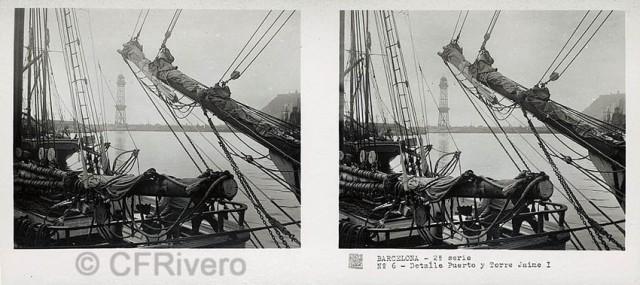 José Codina ed. Barcelona, detalle Puerto y torre Jaime I. Ca. 1835. Estereoscopia en gelatina de plata. (CFRivero)