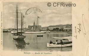 Sabina Muchart. Málaga, muelle de Guadiaro. Tarjeta postal  ed. R. Álvarez Morales. H. 1901. (CFRivero)
