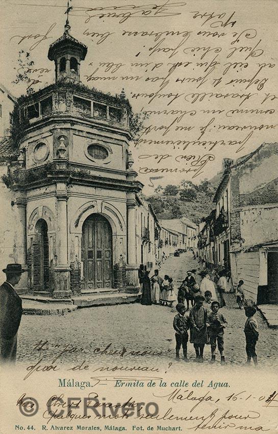 Sabina Muchart. Málaga, ermita de la calle del Agua. Tarjeta postal ed. R. Álvarez Morales. Circulada en 1904. (CFRivero)