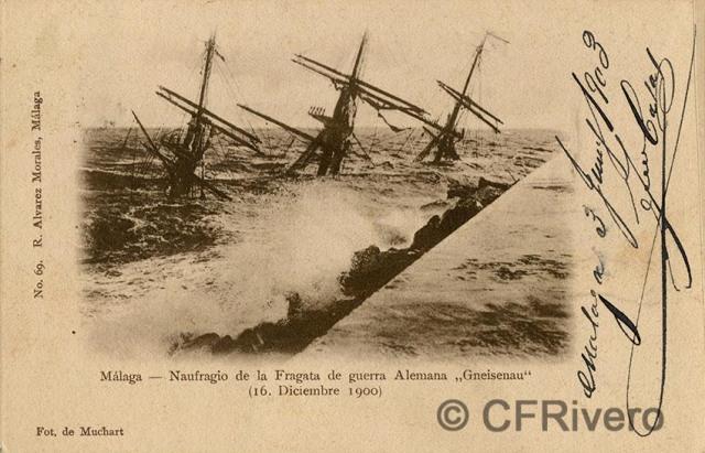"Sabina Muchart. Malaga, naufragio de la Fragata de guerra alemana ""Gneisenau"" (16 Diciembre 1900). Tarjeta postal. R. Álvarez Morales ed. (CFRivero)"