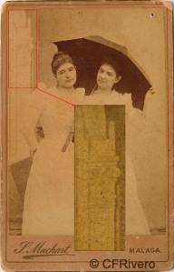Sabina Muchart. [Retrato de dos jóvenes con paraguas]. Detalle ampliado del fondo del estudio. Carte de visite en albúmina. H. 1903. (CFRivero)