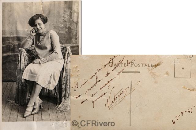 "Sabina Muchart. Retrato de ""Victoria"". Málaga 1926. Tarjeta postal en gelatina de plata. (CFRivero)"