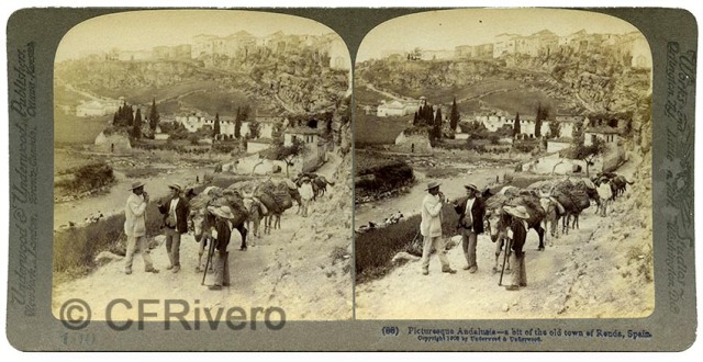Sabina Muchart. Picturesque Andalusia - a bit of the old town of Ronde, Spain. Ed. Underwood & Underwood. Estereoscopia en gelatina de plata. (CFRivero)