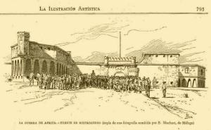 """La Guerra de África. Fuerte de Rostrogordo (Copia de una fotografía remitida por S. Muchart, de Málaga). Grabado aparecido en """"La Ilustración artística"""" el 11/12/1893."""
