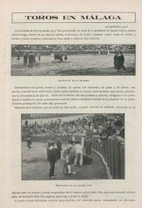 Sabina Muchart. Toros en Málaga, Manolete en su primer toro. La fiesta nacional, 1908