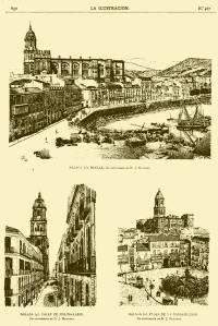 Sabina Muchart fot. [Málaga, calle Molina Larios, Plaza de la Constitución y Cortina del Muelle con el Puerto. Grabados. La Ilustración, octubre 1889