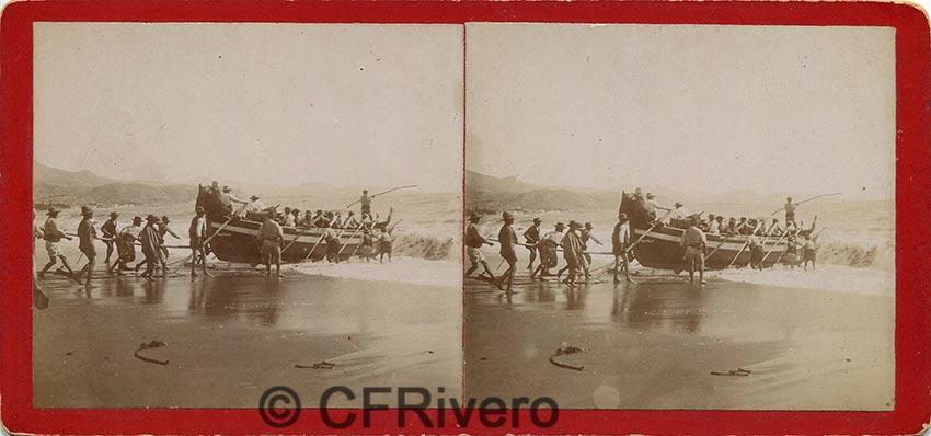 Sabina Muchart. [Málaga, pescadores botando una jábega]. H. 1900. Estereoscopia en albúmina. (CFRivero)