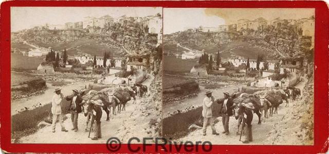 Sabina Muchart. [Ronda, reata de mulas frente a la ciudad]. Estereoscopia en albúmina. (CFRivero)