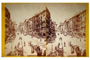 251. FranK Good. Saragossa. View in the Market. Estereoscopia en albúmina. 1869