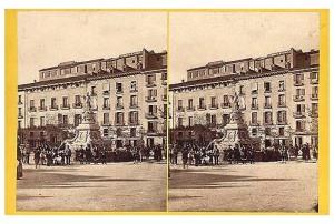 252. Frank Good. Zaragoza, fuente de Neptuno. Estereoscopia en albúmina. 1869