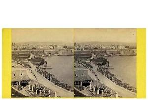 255. Frak Good. Barcelona desde Bella Vista, el puerto, etc. Estereoscopia en albúmina. 1869