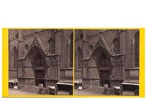 258.Frank Good. Barcelona. Iglesia de Sta. María del Mar, fachada principal. Estereoscopia en albúmina. 1869