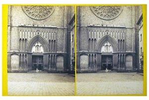 259. Frank Good. Barcelona, entrada a la iglesia de Sta. María del Pino. Estereoscopia en albúmina. 1869