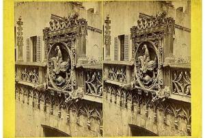 260. Frank Good. Barcelona, puerta de la Audiencia Real. Estereoscopia en albúmina, 1869