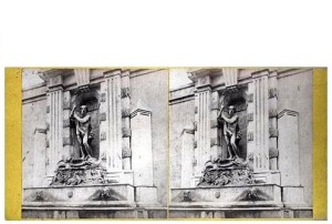 263. Frank Good. Barcelona, fuente de Neptuno. Estereoscopia en albúmina. 1869
