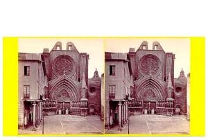 274a. Frank Good. Tarragona, frente de la Catedral. Estereoscopia en albúmina. 1869
