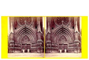 274b. Frank Good. Tarragona, frente de la Catedral. Estereoscopia en albúmina. 1869