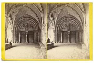 276. Frank Good. Tarragona, la Catedral. Puerta que conduce al Claustro, obra del siglo XIII, puramente bizantina y curiosa. Estereoscopia en albúmina. 1869