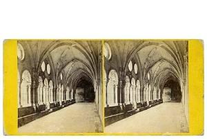 277. Frank Good. Tarragona, la Catedral. Claustros, arcos y capiteles del siglo XIII, las más interesantes de España. Estereoscopia en albúmina. 1869