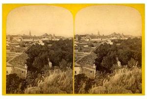 287b. Frank Good. Córdoba. Vista del jardín desde la torre del Alcázar. Estereoscopia en albúmina. 1869