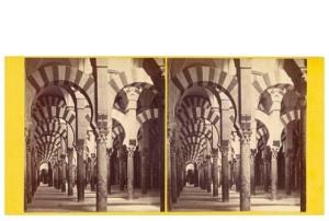 290. Frank Good. Córdoba, interior de la Catedral o Mezquita. Vista general. La mejor expresión de arquitectura religiosa árabe en España. Estereoscopia en albúmina. 1869