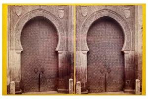 292. Frank Good. Córdoba, puerta de la Catedral, llamada del Perdon. Es una de las más grandes y bellas. Estereoscopia en albúmina. 1869