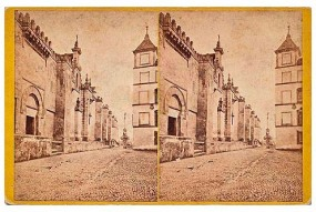 309. Frank Good. Córdoba. Vista exterior de las murallas de la Catedral [Mezquita]. Estereoscopia en albúmina. 1869.