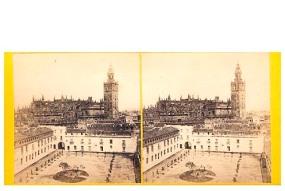 316. Frank Good. Sevilla. La Catedral desde el Alcázar. Estereoscopia en albúmina. 1869