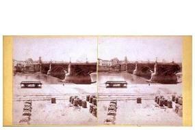 318. Frank Good. Sevilla. Puente sobre el Guadalquivir [de Triana]. Estereoscopia en albúmina. 1869.
