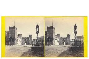 321. Sevilla, entrada al Alcázar. [Puerta del León] Estereoscopia en albúmina. 1869