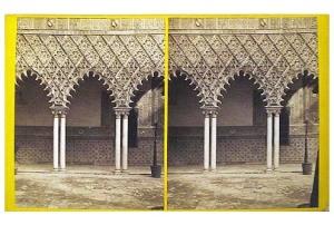 329. Frank Good. Sevilla. Alcázar (detalles) [Patio de las Doncellas]. Estereoscopia en albúmina. 1869.
