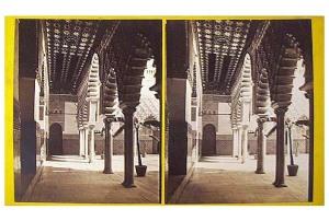 330. Frank Good. Sevilla. Vista del lado sur del Patio del Alcázar. [Patio de las Doncellas]. Estereoscopia en albúmina. 1869.