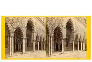 333. Frank Good. Sevilla. Patio del Alcázar. [Patio de las Doncellas]. Estereoscopia en albúmina. 1869.