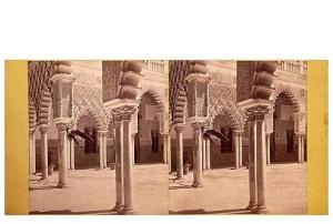 333b. Frank Good. Sevilla. Patio del Alcázar. [Patio de las Doncellas]. Estereoscopia en albúmina. 1869.