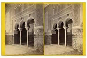 334. Frank Good. Sevilla, Alcázar, arcos en la sala de Embajadores. Estereoscopia en albúmina. 1869.