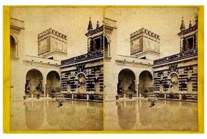 336. Frank Good. Sevilla. Alcázar [Estanque de Mercurio]. Estereoscopia en albúmina. 1869