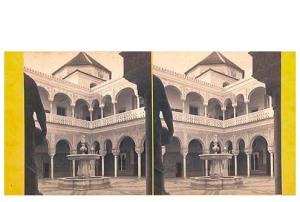 337. Frank Good. Sevilla. Casa de Pilatos, la fuente. Estereoscopia en albúmina. 1869.