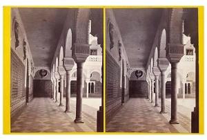 338. Frank Good. Sevilla. Casa de Pilatos. Vista del lado sur del patio. Estereoscopia en albúmina. 1869.