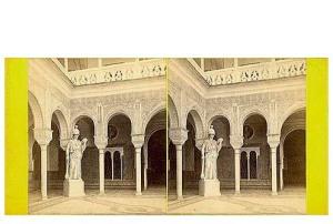 339. Frank Good. Sevilla. Estatua de Minerva en la Casa de Pilatos. Estereoscopia en albúmina. 1869.
