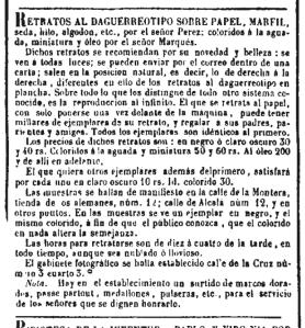 Anuncio del fotógrafo señor Pérez. El Popular (Madrid) 7/5/1850