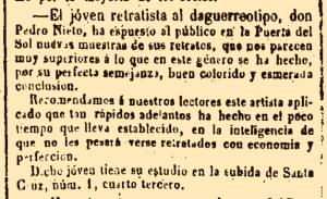 Anuncio en El Popular del 12/10/1850