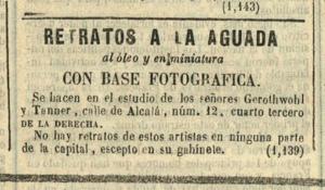 Anuncio de los fotógrafos Gerothwold & Tanner en Madrid 1852