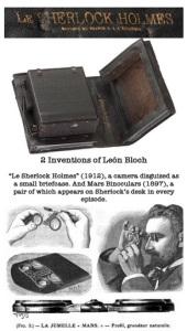 """Lèon Bloch. Camara secreta y binoculares de escritorio """"Le Sherlock Holmes""""."""