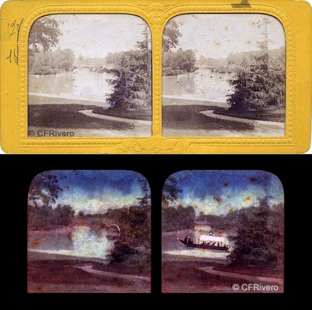 BK [Adolph Block]. Le lac et pont des Îles, Bois de Boulogne, Paris.  Estereoscopia en albúmina tipo tissue surprise. (CFRivero)