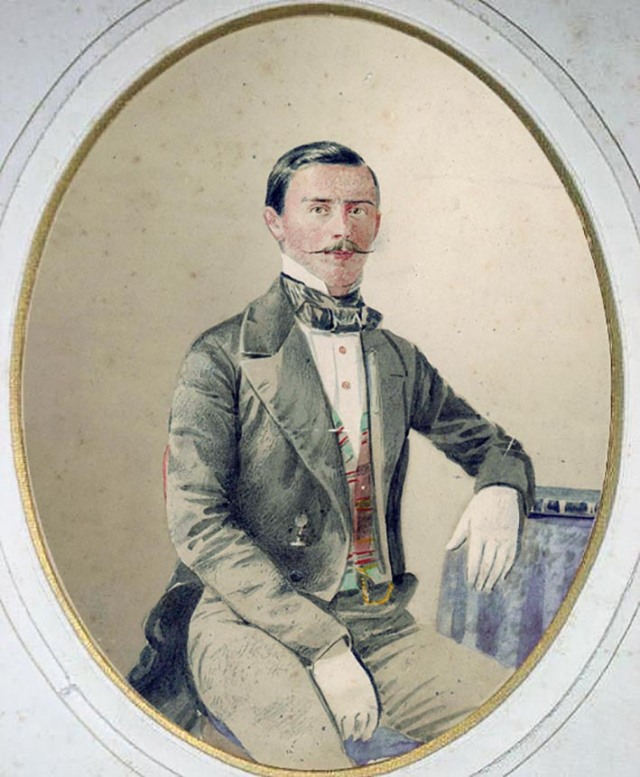 Pedro Nieto. Retrato iluminado de un joven caballero. Ca. 1855. Madrid. Papel a la sal iluminado. (Col. Javier Sánchez Portas)