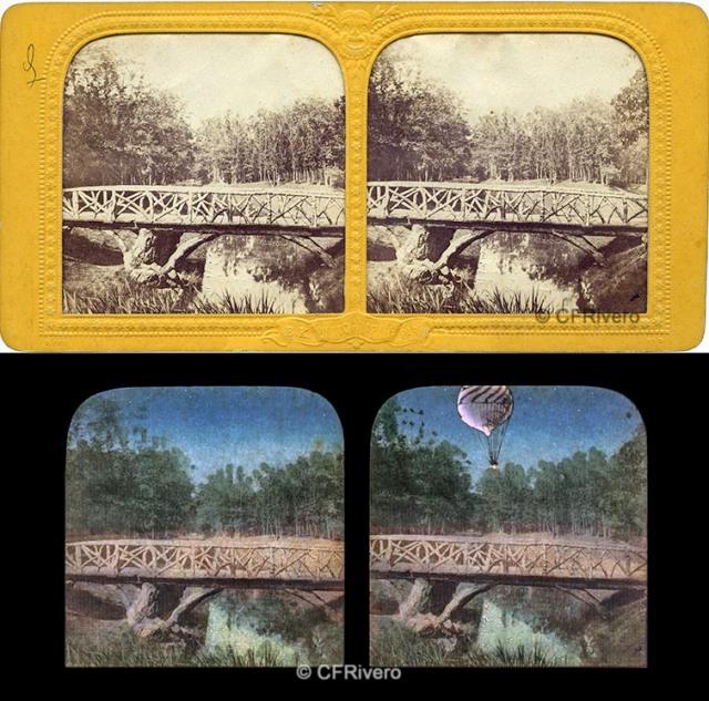 BK (Adolphe Block). Le pont rustique Bois de Vincennes prés Paris. Estereoscopia en albúmina tipo tissue surprise. CFRivero