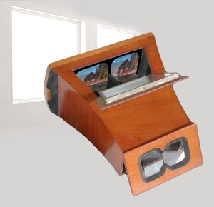 Estereoscopo de Brewster con la fotografía retroiluminada