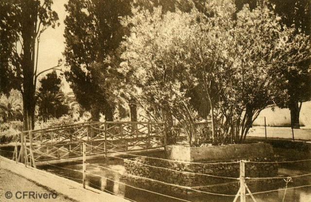 """Autor desconocido. Málaga.- """"El Retiro"""". El Estanque de la Adelfa. Ca. 1920. Tarjeta postal."""