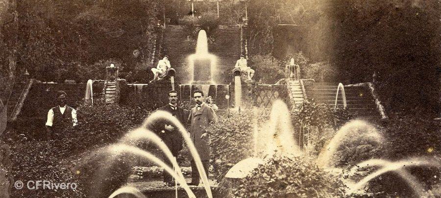 José Spreafico?. Jardín del Retiro en Churriana (Málaga), juegos de agua. Ca. 1865. Fragmento de una estereoscopia en albúmina. (CFRivero)