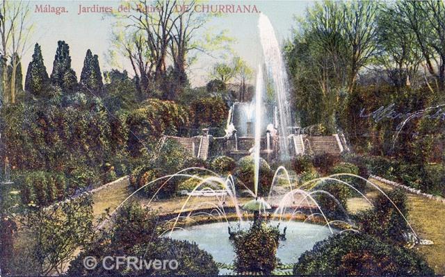 Domingo del Río ed. Málaga. Jardines del Retiro de Churriana. Ca. 1910. Tarjeta postal. (CFRivero)